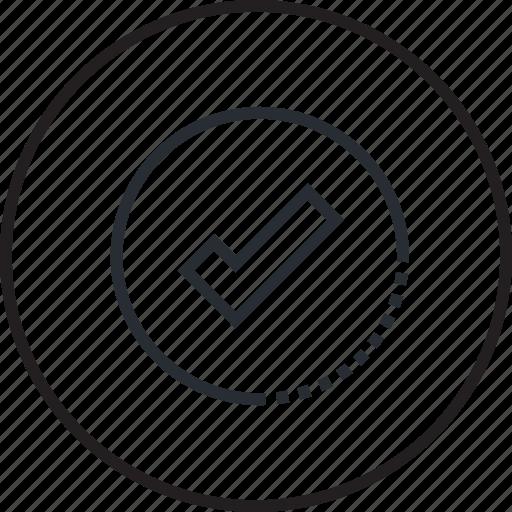 approve, check, check mark, icon, line, sign, web icon