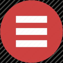 circle, hamburger, list, menu, navigation, stack icon icon