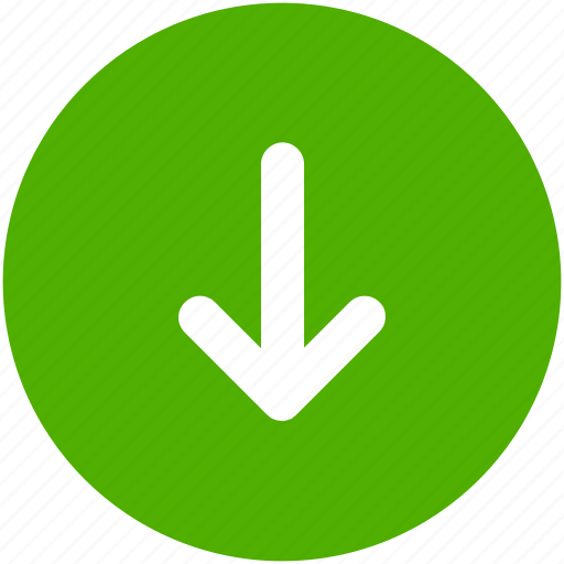 arrow, circle, descend, down, downward, green, south icon icon