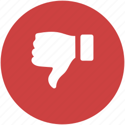 circle, dislike, down, hate, red, reject, thumbs icon icon