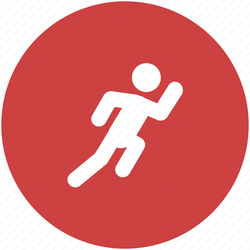 circle, exercise, fitness, orange, run, running, workout icon icon