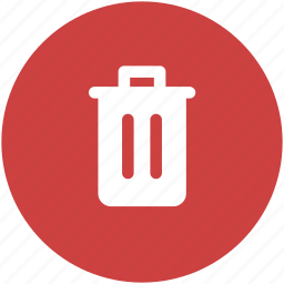 circle, delete, garbage, recycle, red, rubbish, trash icon icon