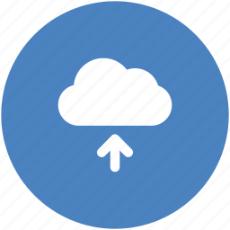 backup, blue, circle, cloud, ftp, storage, upload icon icon