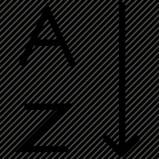 alphabetical sorting, ascending order, descending order, format, sorting, text icon