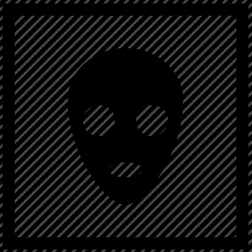 alien, face, mask, sign, square, ufo icon