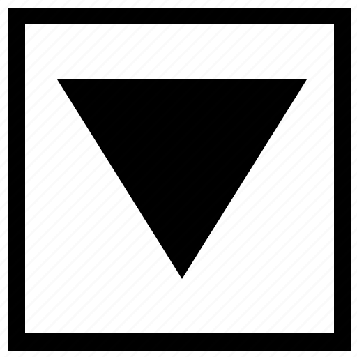 arrow, bottom, down, navigation, square icon