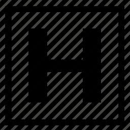 alphabet, english, h, letter, square icon