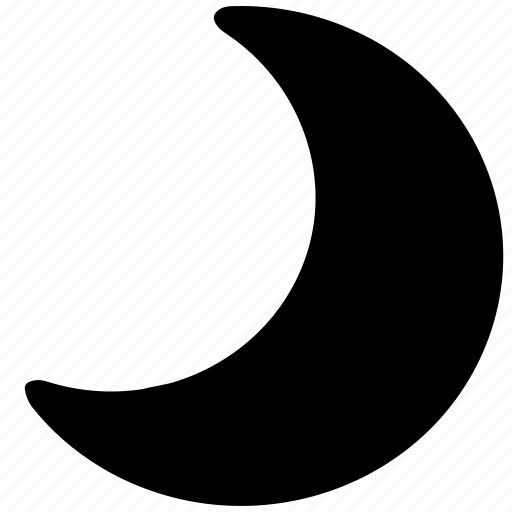 crescent, filled, moon, rounded, shapes, signs, symbols icon