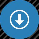 arrow, bottom, direction, down, path icon
