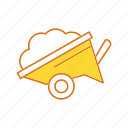 construction, wheelbarrow, working icon
