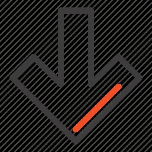 arrow, back, down icon