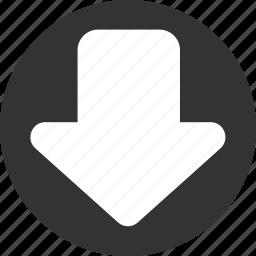 arrow, arrows, down, download, downloads icon