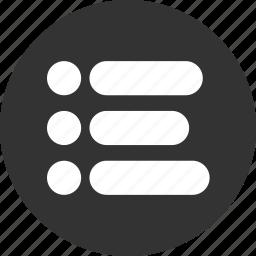 bullet, bullets, list, menu, navigation, unjustified icon