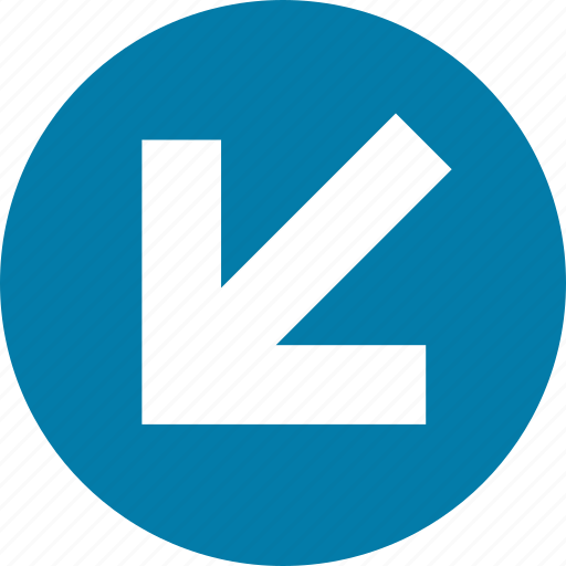 arrow, bottom, direction, down, left, south, west icon