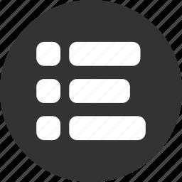 bullet, bullets, list, menu, navigation, unjustified, web icon