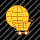 cargo, cart, global, trolley icon