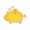 bank, cash, piggy, piggy bank icon