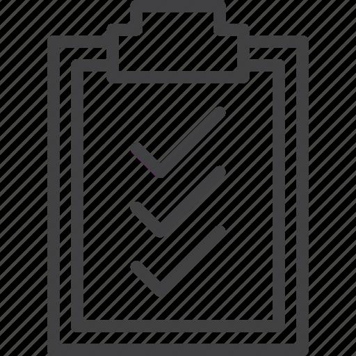check, checklist, clipboard, list, tasks icon
