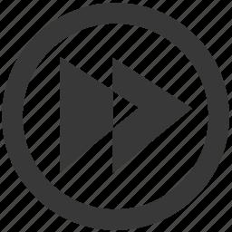 arrow, audio, media, movie, music, play, sound icon