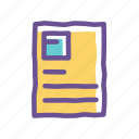 attach, document, file, note, page, paper icon