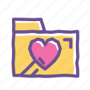 collection, data, document, favorite, folder, heart, important icon