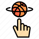 basketball, finger, game, rotation, spin icon