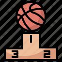 ball, basketball, best, champion, podium, success, winner icon