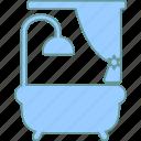 bath, bathtub, curtain, tub icon