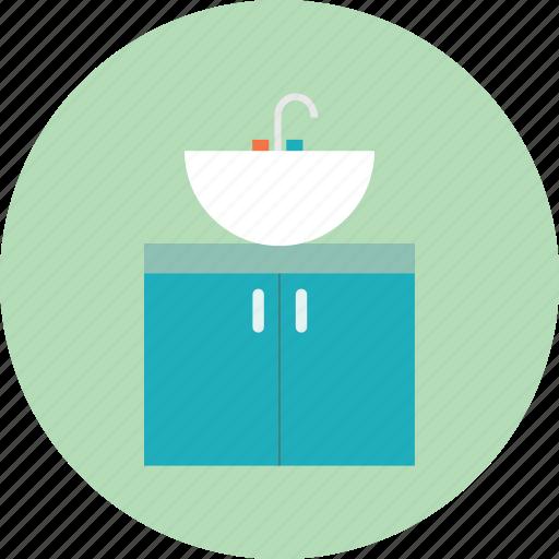 basin, interior, sink, storage closet, tap, wash, water icon