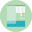 bath, bathtub, shower, shower curtain, toilet icon