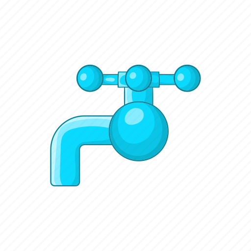 cartoon, faucet, flow, handle, knob, tap, water icon