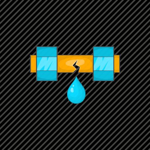 cartoon, damaged, drop, leaking, pipe, tube, water icon
