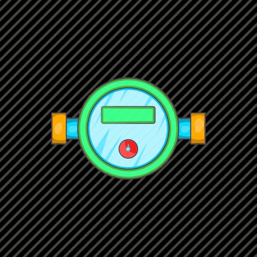 cartoon, consumption, flow, gauge, meter, scale, water icon