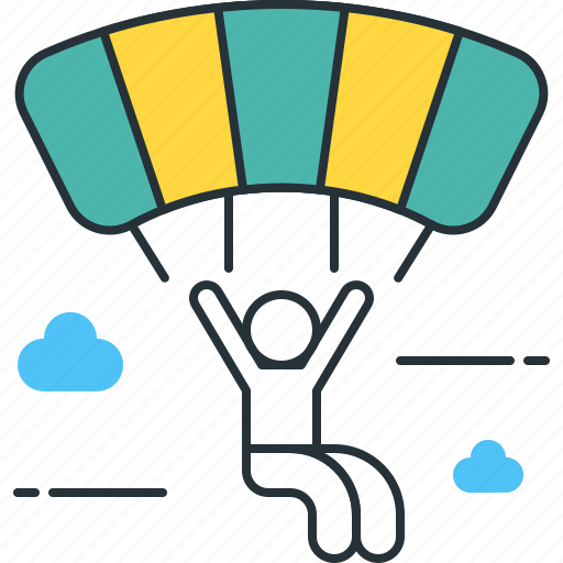 parachute, parachuting icon