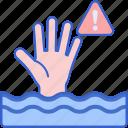 drown, drowning, hand, sea icon