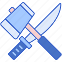 hammer, knife, melee, weapon icon