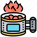 barbecue, charcoal, chimney, fire, starter icon