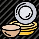 bowl, dinnerware, dishes, kitchen, plate icon