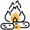 bonfire, camping, charcoal, flame, wood icon