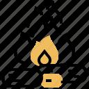 bonfire, camping, charcoal, flame, wood