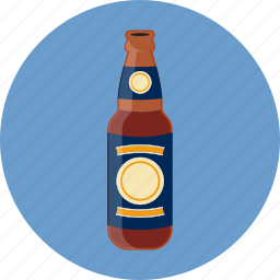 beer, beverage, bottle, brown, drink icon