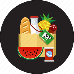 baguette, bio, food, organic, product, shopping bag, vegetables icon