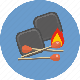 ardent, blaze, burning, carbon, charcoal, flare, matches icon