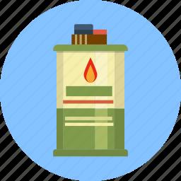 accelerant, charcoal, container, dangerous, fluid, lighter icon