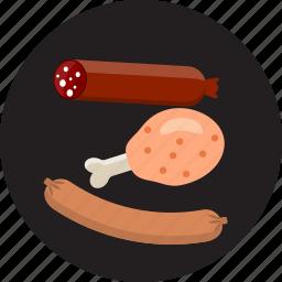 gourmet, grill, ham, meat, pork, salami, sausage icon