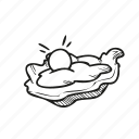 fish, food, oyster, pearl, romantic, seafood, valentines icon