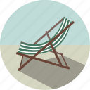 beach, beach chair, chair, summer, sunbathing, sunbed, vacation icon