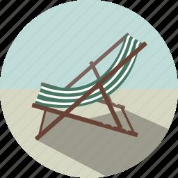 beach, beach chair, chair, summer, sunbathing, sunbed, vacation icon