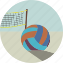 ball, beach, play, sand, sport, summer, volleyball icon