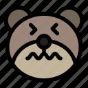 bear, emoji, emoticon, kawaii, nervous